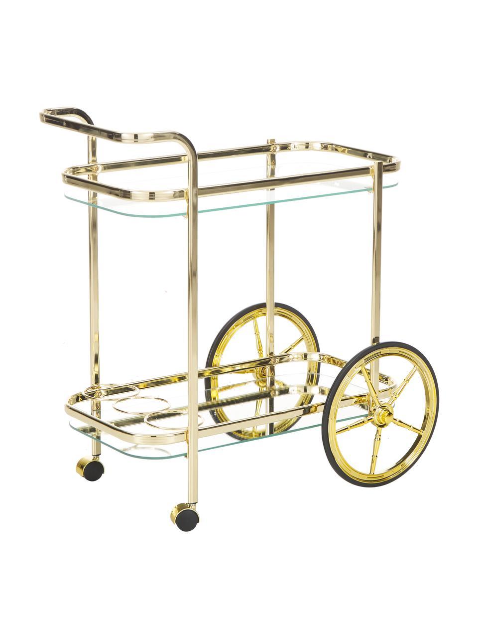 Goldener Servierwagen Ella, Gestell: Stahl, Goldfarben, 69 x 75 cm