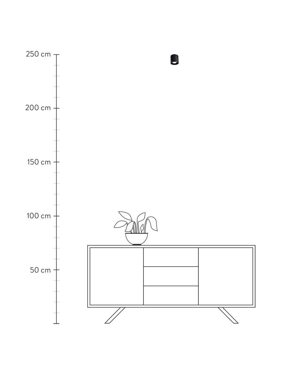 Faretto da soffitto nero Roda, Lampada: alluminio rivestito, Nero, Ø 10 x Alt.10 cm