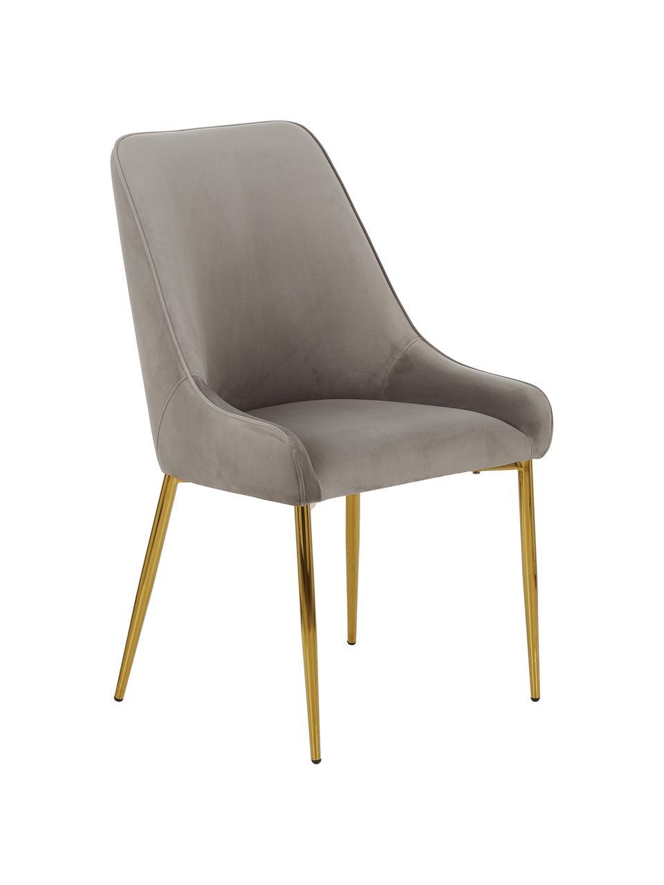Samt-Polsterstuhl Ava in Taupe, Bezug: Samt (100% Polyester) Der, Beine: Metall, galvanisiert, Samt Taupe, B 53 x T 60 cm