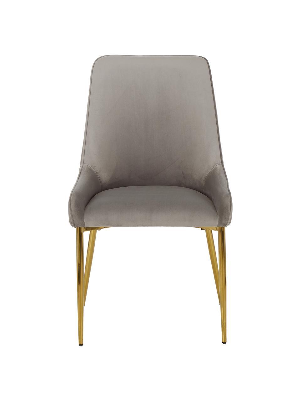 Fluwelen stoel Ava met goudkleurige poten, Bekleding: fluweel (100% polyester), Poten: gegalvaniseerd metaal, Fluweel taupe, B 55  x D 60 cm