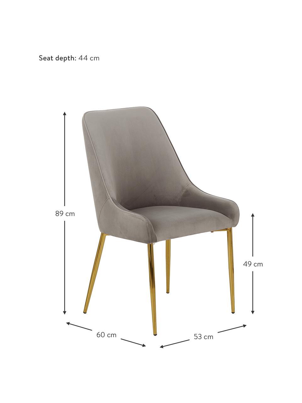 Krzesło tapicerowane z aksamitu Ava, Tapicerka: aksamit (100% poliester) , Nogi: metal galwanizowany, Aksamitny taupe, S 53 x G 60 cm