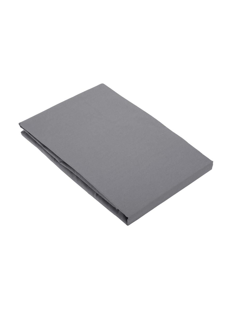 Lenzuolo con angoli in percalle Elsie, Tessuto: percalle, Grigio scuro, Larg. 180 x Lung. 200 cm