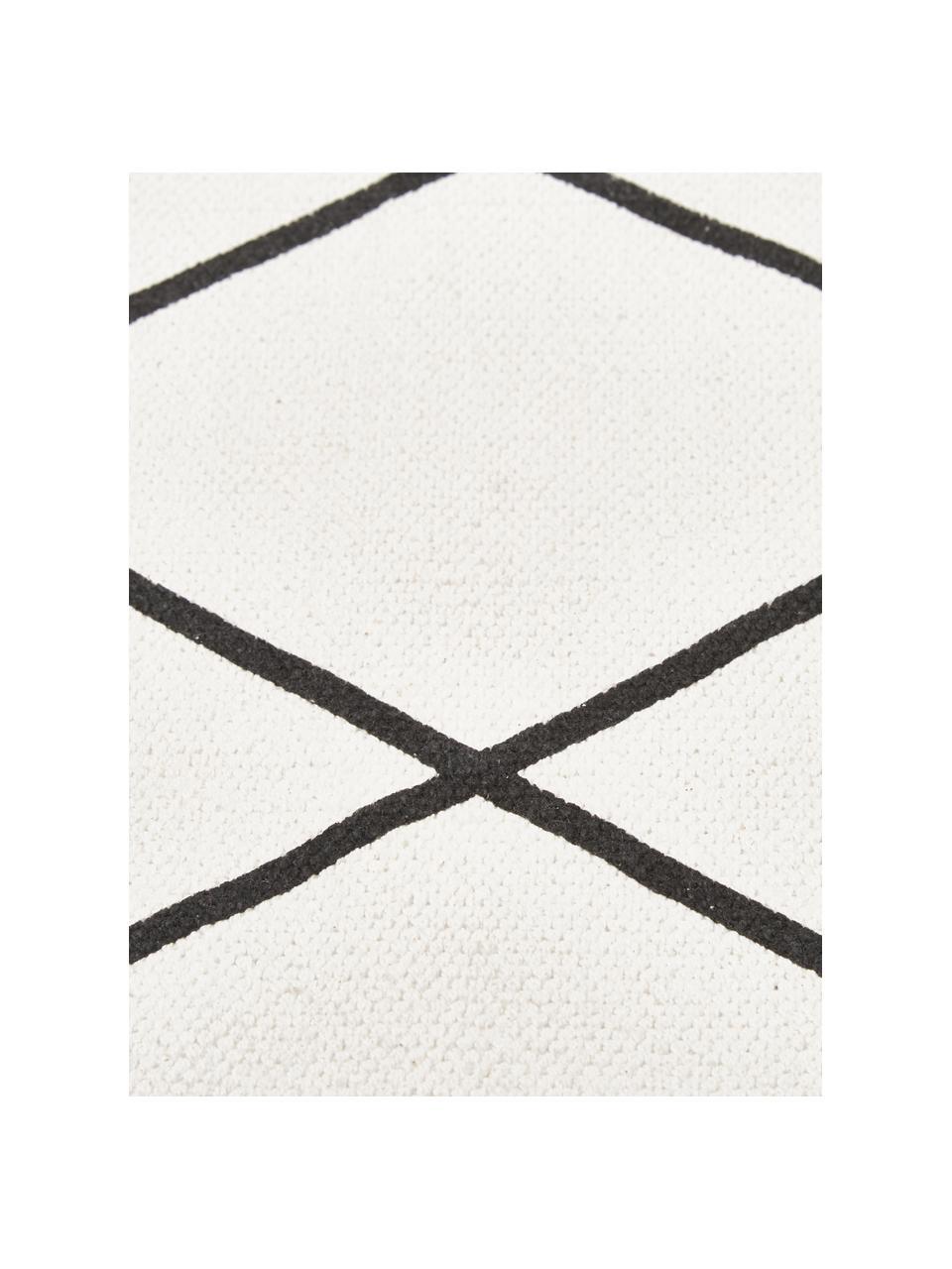 Tappeto in cotone tessuto piatto con motivo rombi Farah, 100% cotone, Bianco crema, nero, Larg. 200 x Lung. 300 cm (taglia L)
