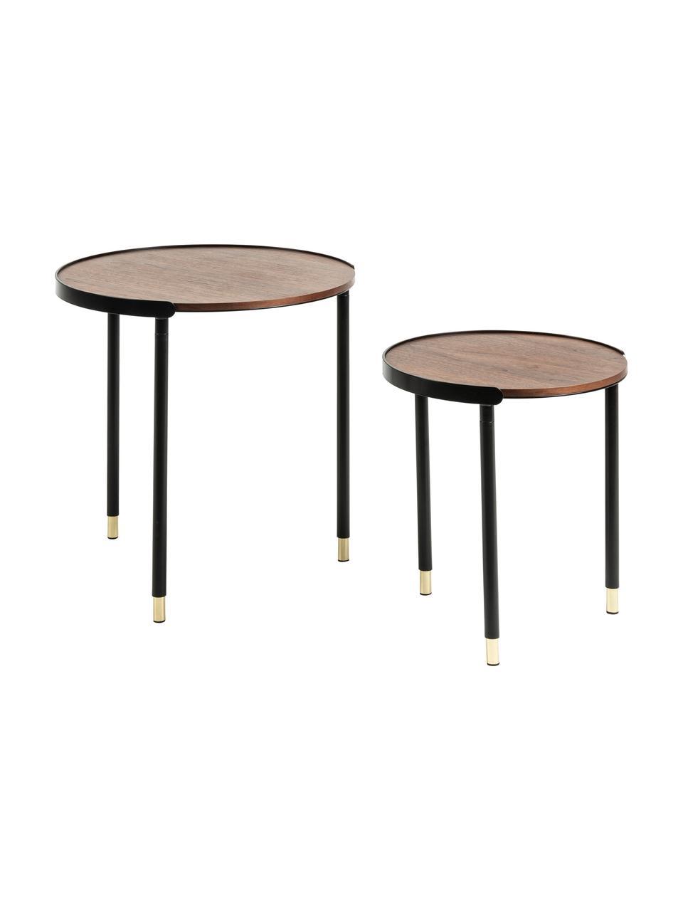 Tables gigognes en bois Anabel, 2 élém., Bois de noyer, noir