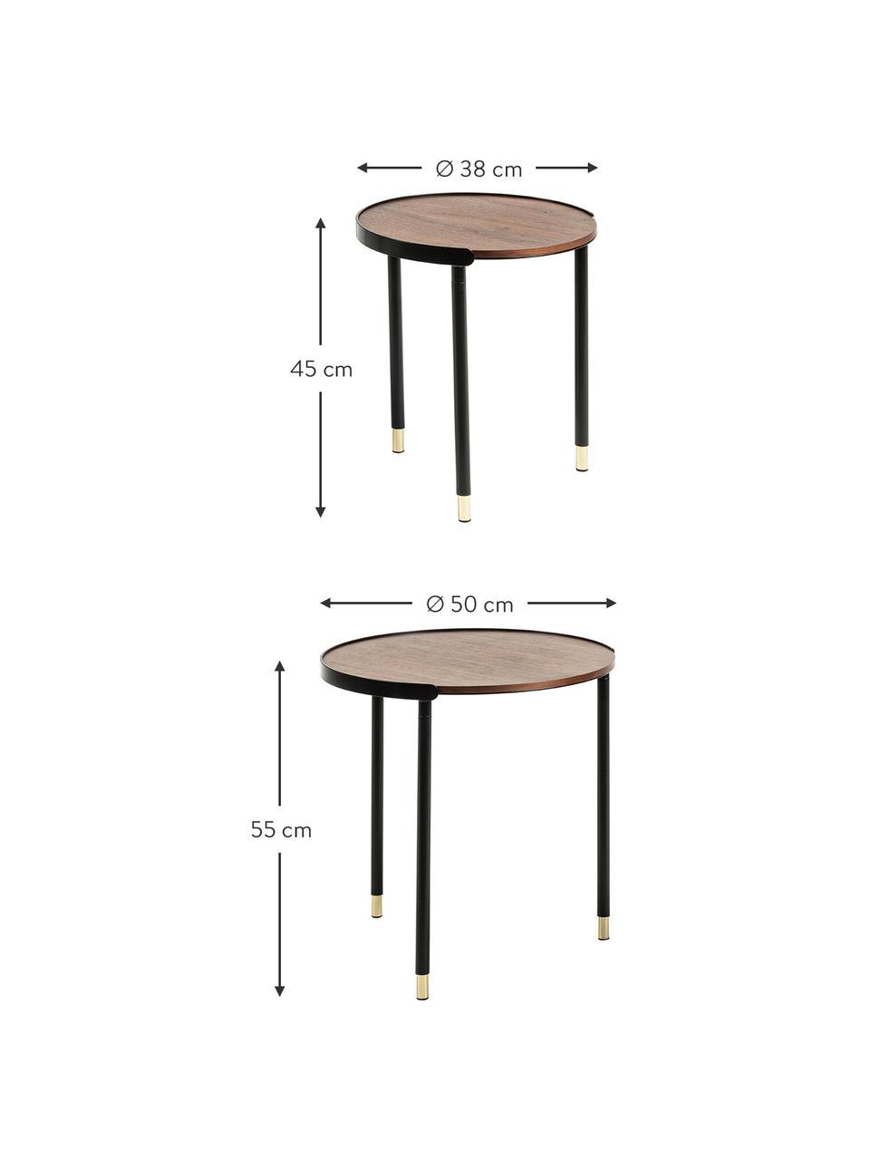 Beistelltisch 2er-Set Anabel, Beine: Metall, lackiert, Walnussholz, Schwarz, Sondergrößen