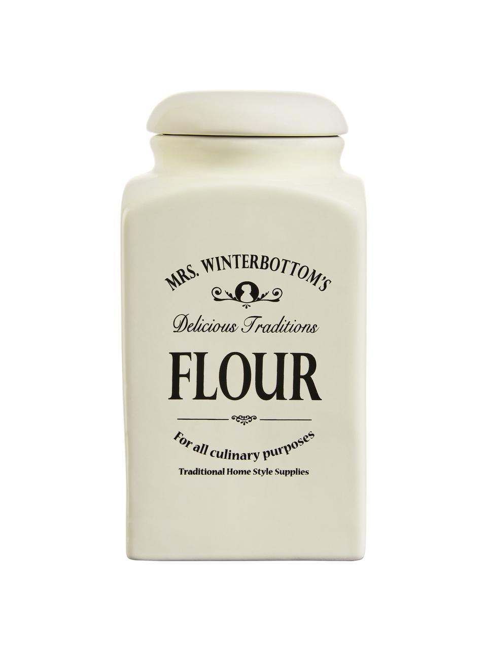 Aufbewahrungsdose Mrs Winterbottoms Flour, Ø 11 x H 21 cm, Steingut, Creme, Schwarz, Ø 11 x H 21 cm
