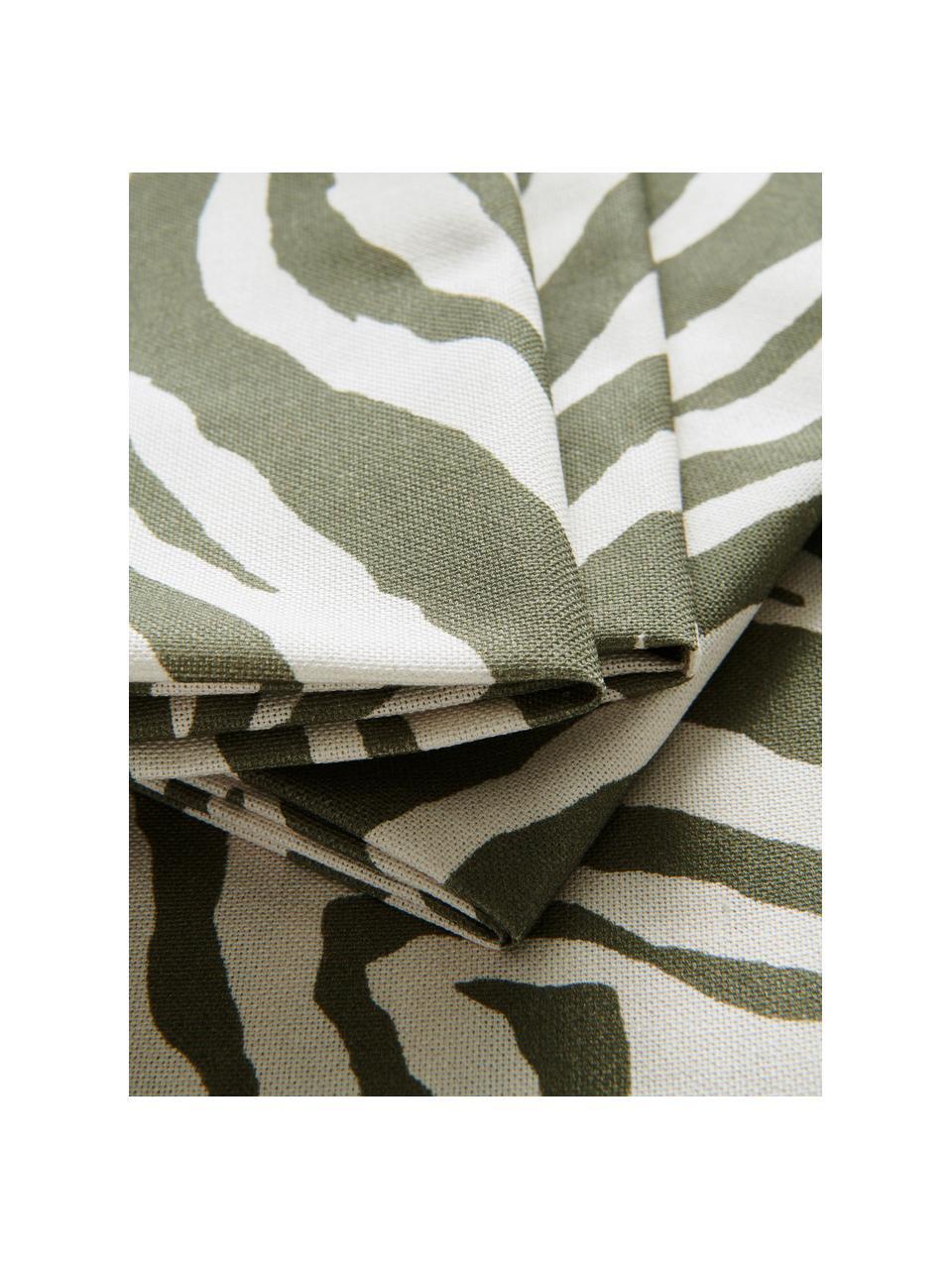 Stoff-Servietten Zadie aus Baumwolle mit Zebramuster, 4 Stück, 100% Baumwolle, Olivgrün, Cremeweiß, 45 x 45 cm
