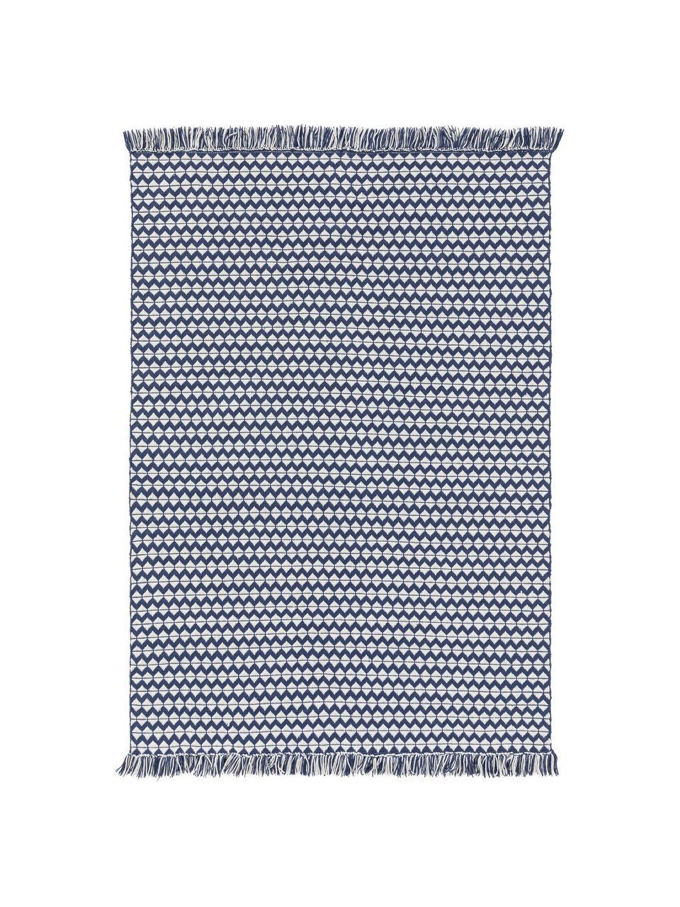In- & Outdoor-Teppich Morty mit Ethnomuster und Fransen, 100% Polyester (recyceltes PET), Dunkelblau, gebrochenes Weiß, B 160 x L 230 cm (Größe M)