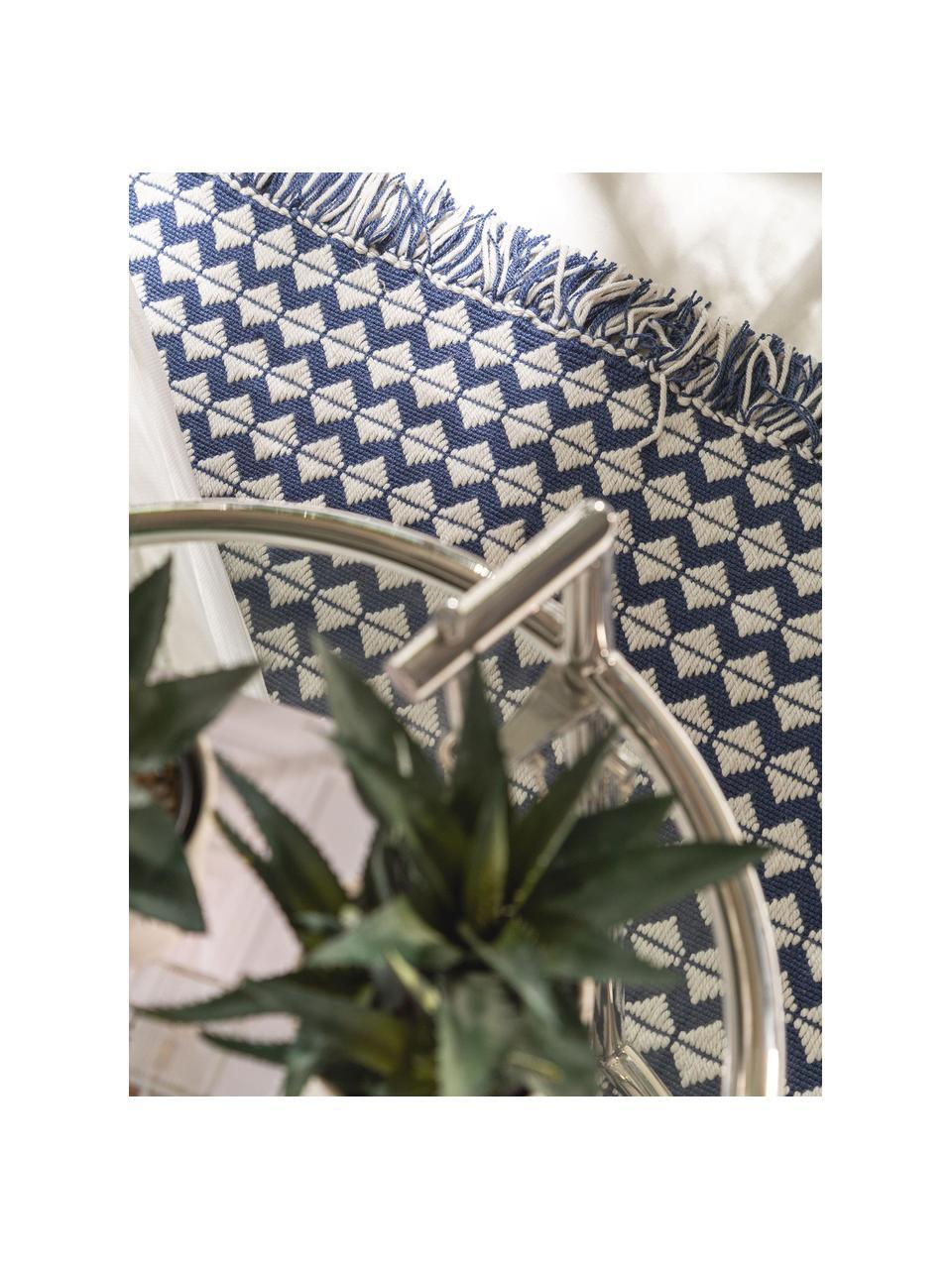 Tappeto etnico da interno-esterno con frange Morty, 100% poliestere (PET riciclato), Blu scuro, bianco latteo, Larg. 160 x Lung. 230 cm (taglia M)
