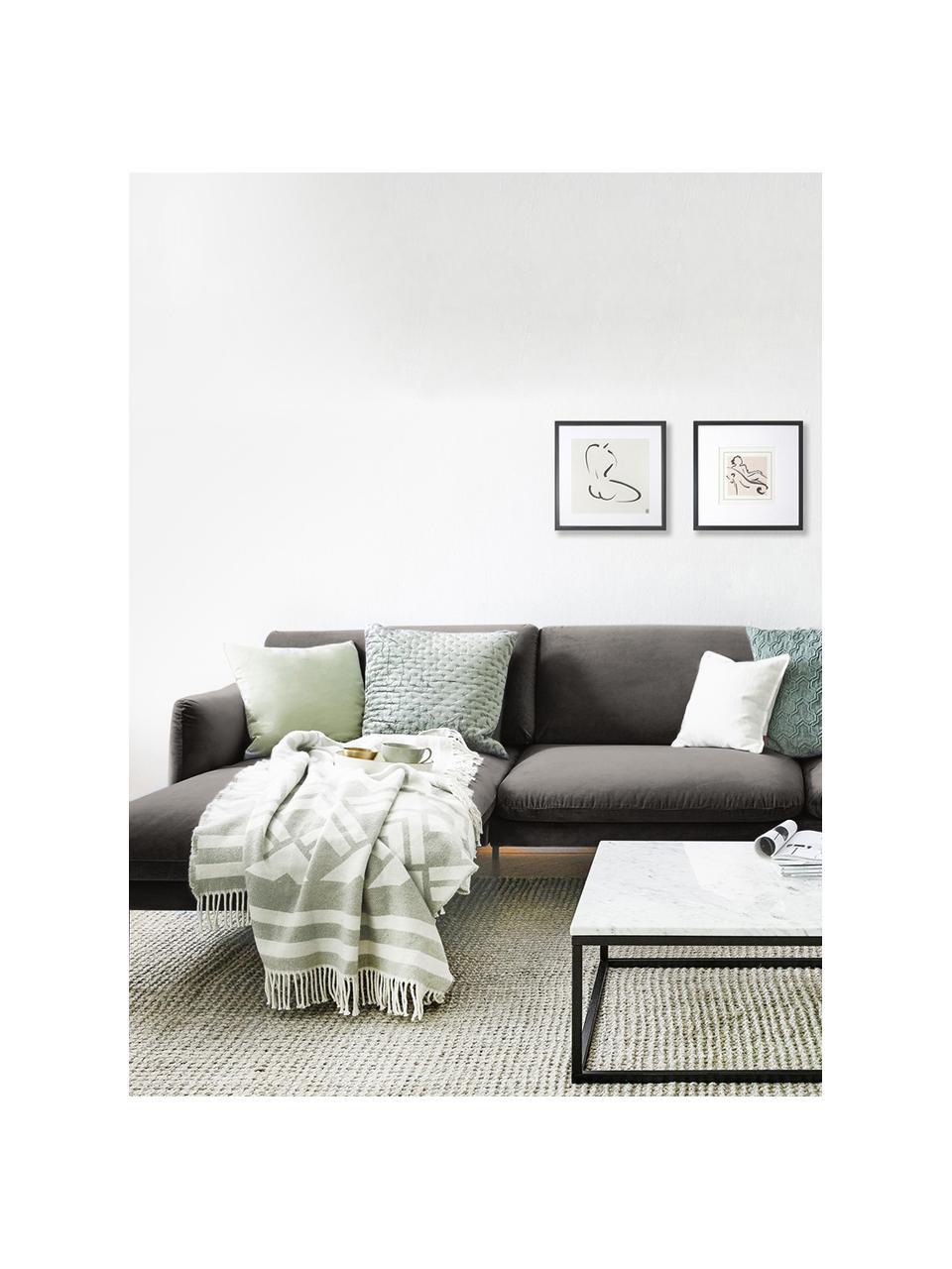 Divano angolare in velluto grigio marrone Moby, Rivestimento: velluto (rivestimento in , Struttura: legno di pino massiccio, Velluto grigio marrone, Larg. 280 x Prof. 160 cm