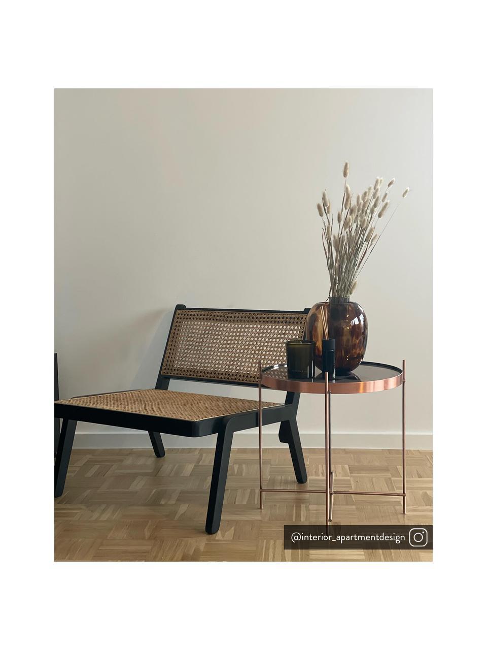 Tavolino-vassoio rotondo con piano in vetro Cupid, Struttura: metallo ramato, Rame, Ø 43 x Alt. 45 cm