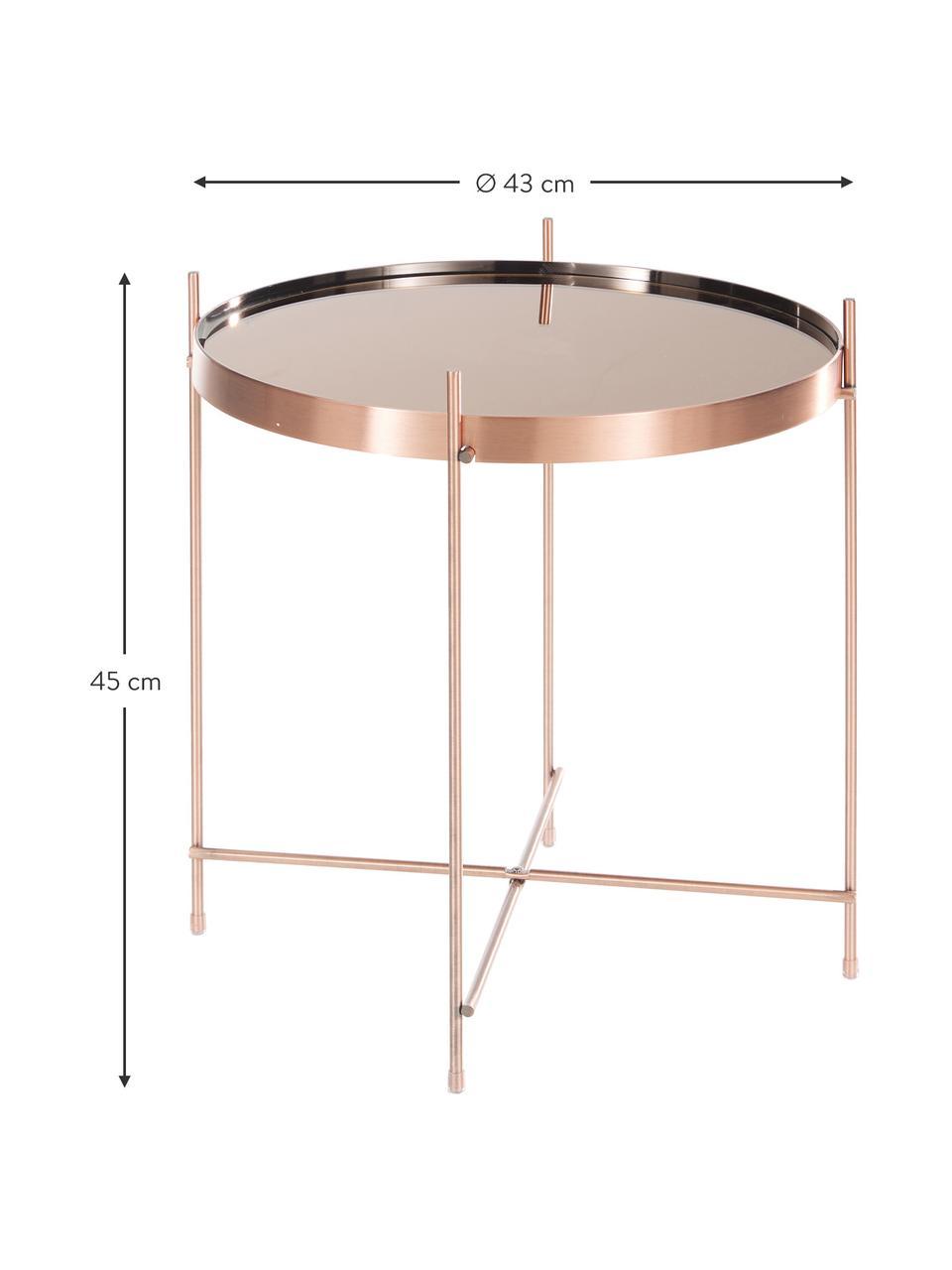 Tablett-Beistelltisch Cupid mit Glasplatte, Gestell: Metall, verkupfert, Tischplatte: Glas, Kupfer, Ø 43 x H 45 cm