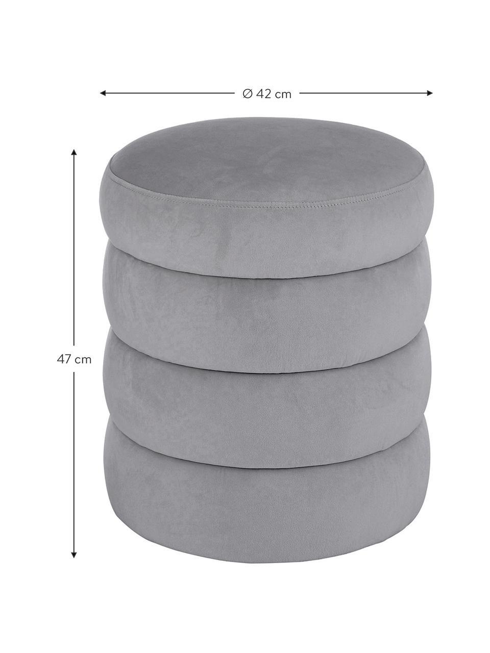 Samt-Hocker Alto, Bezug: Samt (Polyester) 30.000 S, Gestell: Sperrholz, Samt Grau, Ø 42 x H 47 cm