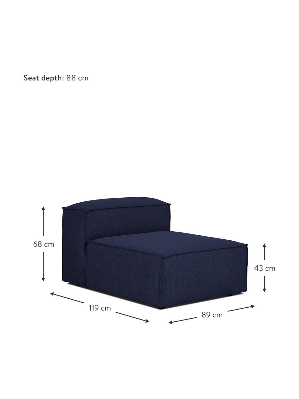 Middelste module Lennon in blauw, Bekleding: 100% polyester De slijtva, Frame: massief grenenhout, multi, Poten: kunststof De poten bevind, Geweven stof blauw, 89 x 119 cm