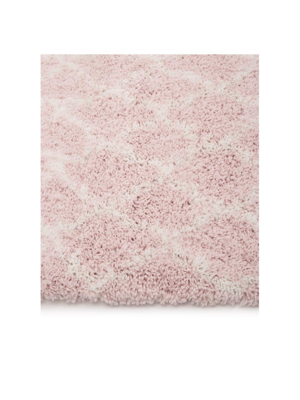 Tappeto a pelo lungo rosa cipria/crema Mona, Retro: 78% juta, 14% cotone, 8% , Rosa cipria, bianco crema, Larg. 300 x Lung. 400 cm (taglia XL)