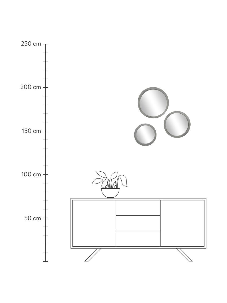 Rundes Wandspiegel-Set Brest mit grauem Rahmen, 3-tlg., Rahmen: Mitteldichte Holzfaserpla, Front: Spiegelglas, Rahmen: Grau Front: Spiegelglas, Sondergrößen