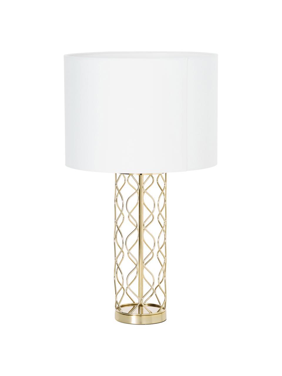 Grande lampe à poser blanc doré Adelaide, Abat-jour: crème Pied de lampe: couleur dorée