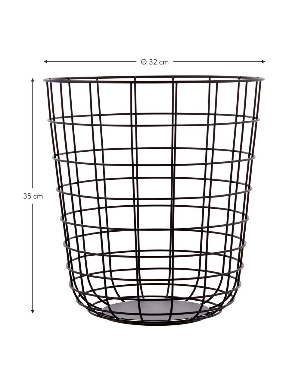 Cestino portarifiuti Wire Bin, Nero, Ø 32 x Alt. 35 cm