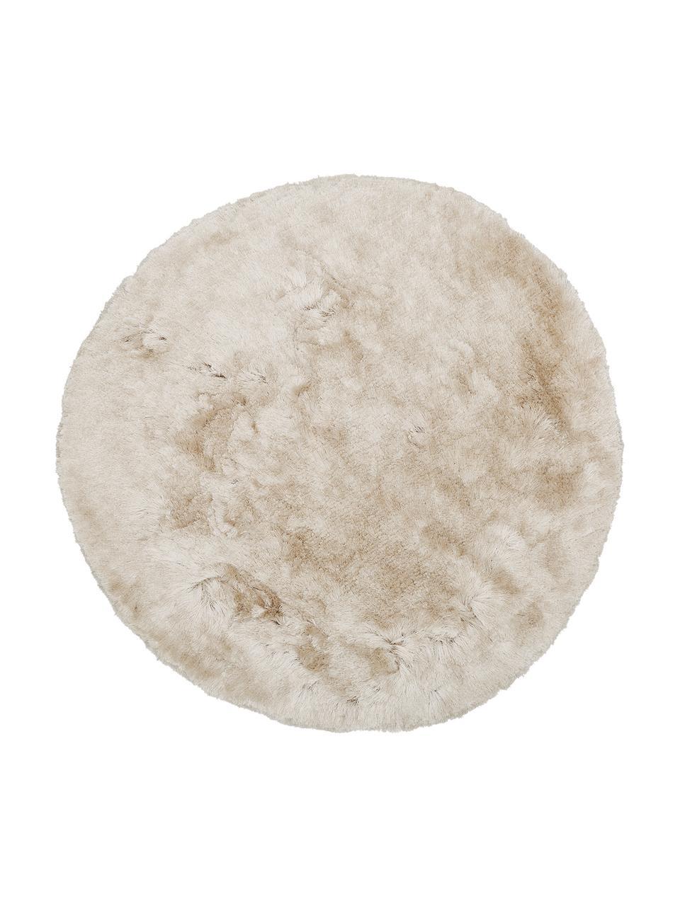 Tappeto rotondo lucido a pelo lungo color avorio Jimmy, Vello: 100% poliestere, Retro: 100% cotone, Avorio, Ø 200 x Alt. 6,5 cm