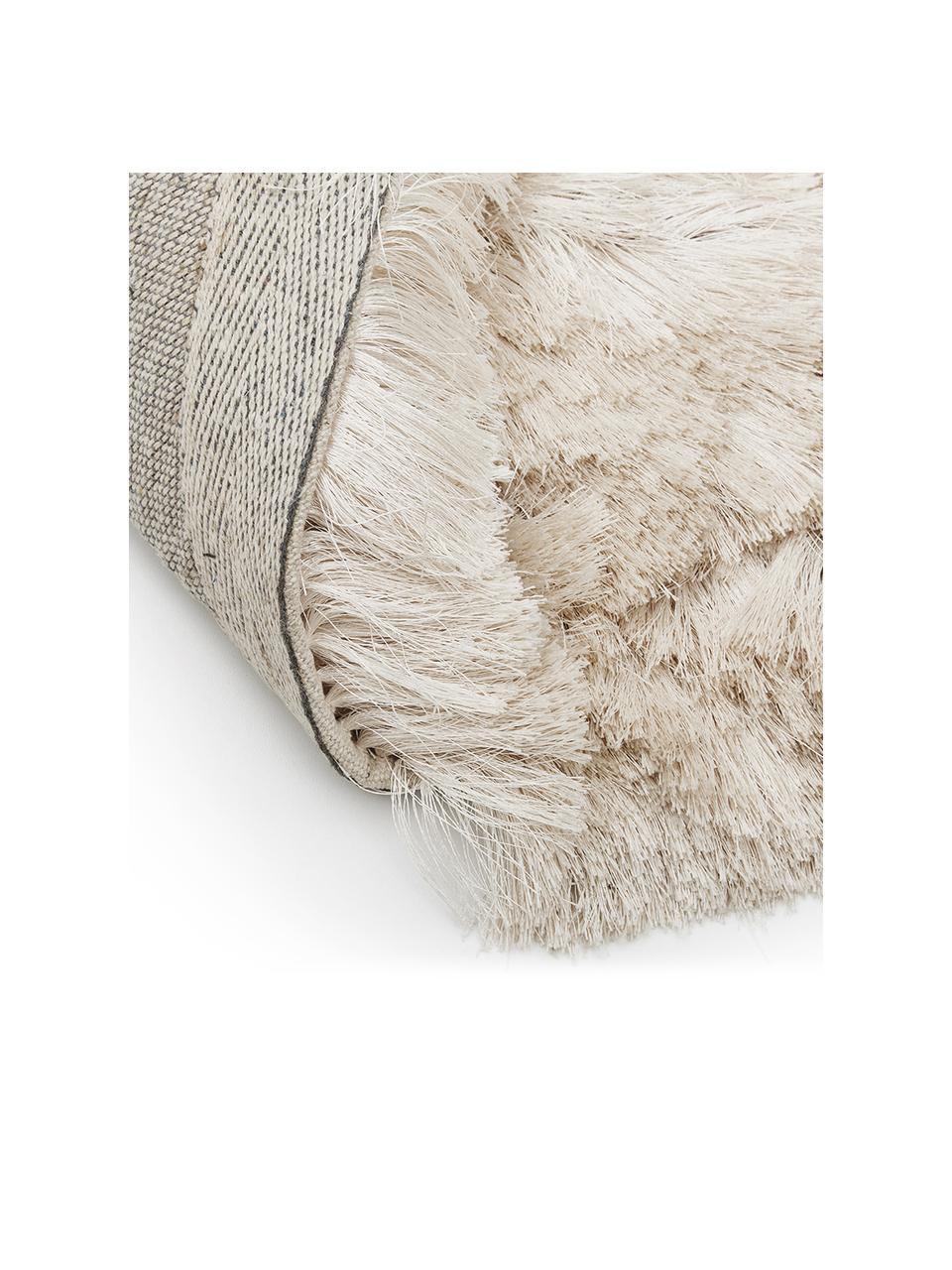 Glanzend hoogpolig vloerkleed Jimmy in ivoorkleur, rond, Bovenzijde: 100% polyester, Onderzijde: 100% katoen, Ivoorkleurig, Ø 200 cm (maat L)