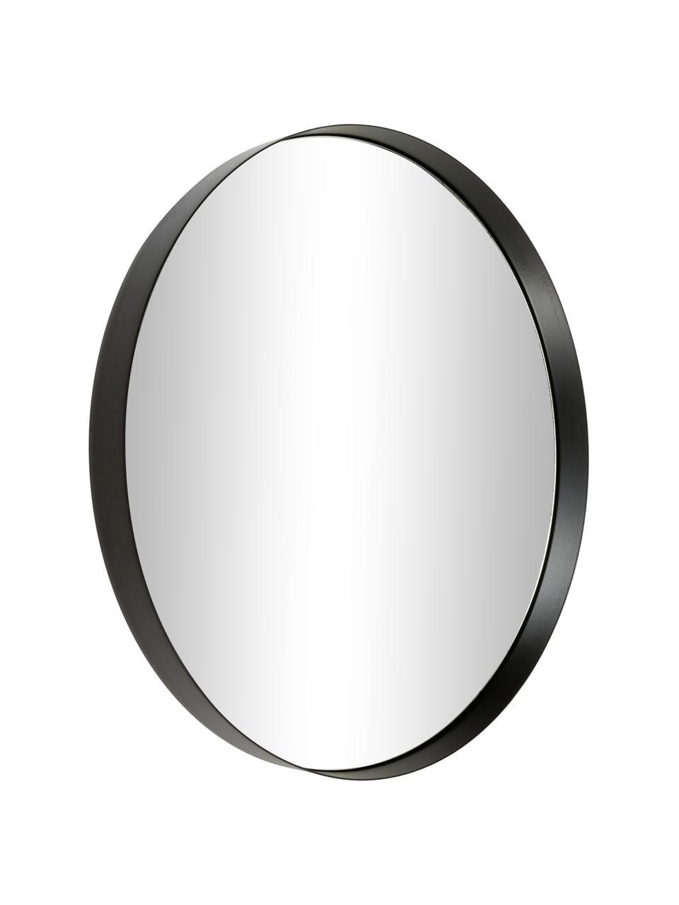 Runder Wandspiegel Metal mit schwarzem Metallrahmen, Rahmen: Metall, lackiert, Spiegelfläche: Spiegelglas, Schwarz, Ø 30 x T 3 cm