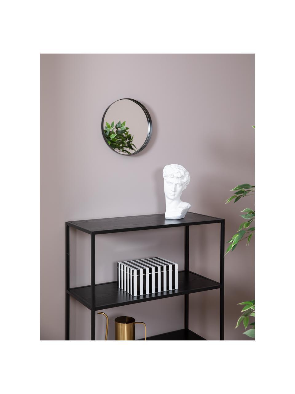 Specchio da parete rotondo con cornice nera Metal, Cornice: metallo verniciato, Superficie dello specchio: lastra di vetro, Nero, Ø 30 cm x Prof. 3 cm