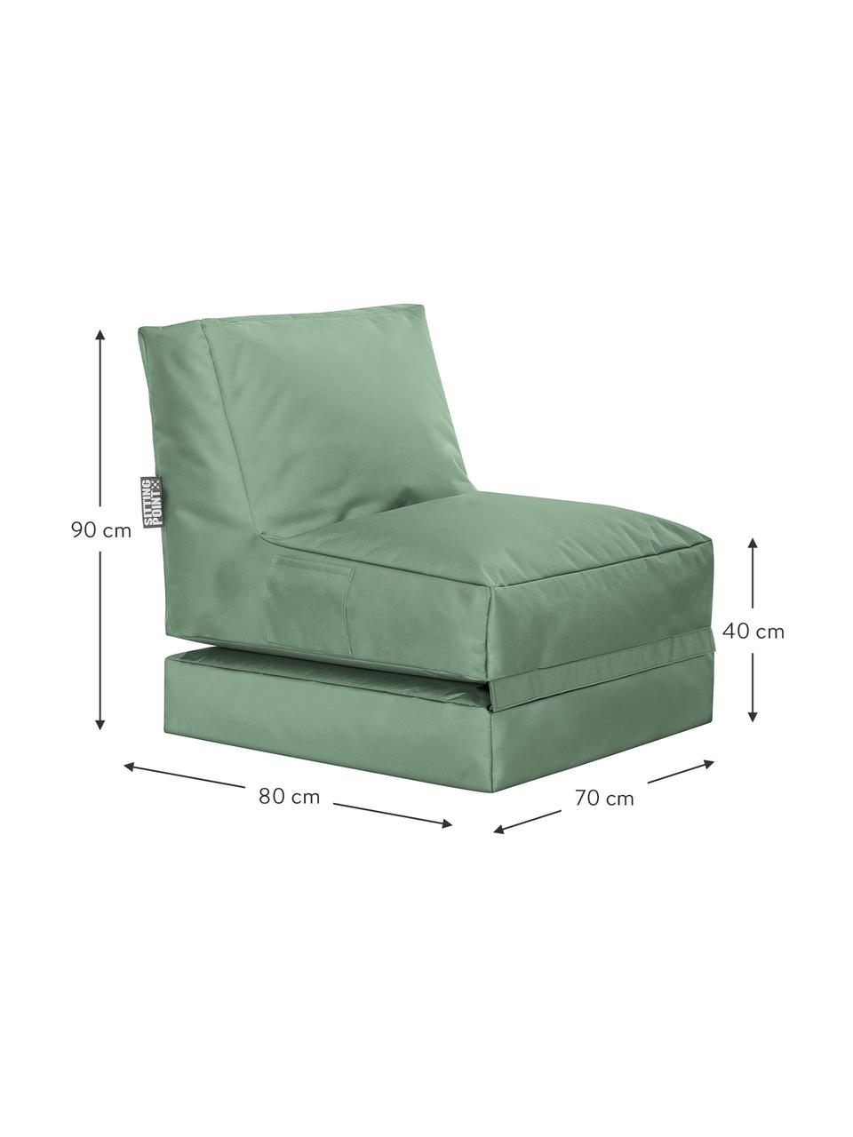 Garten-Loungesessel Pop Up mit Liegefunktion, Bezug: 100% Polyester Innenseite, Salbeigrün, B 70 x T 90 cm