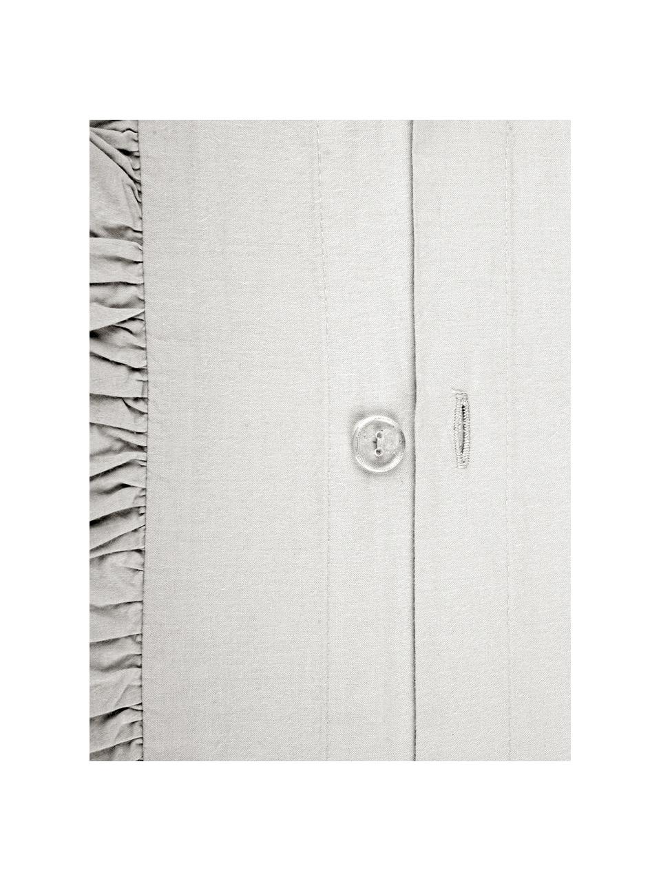 Parure copripiumino in cotone lavato Florence, Tessuto: percalle, Grigio chiaro, 255 x 200 cm