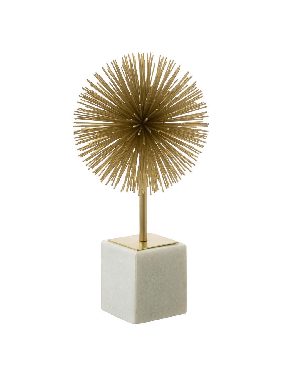 Decoratief object Marball, Object: metaal, Voet: marmer, Onderzijde: vilt, Goudkleurig, wit, H 30 cm