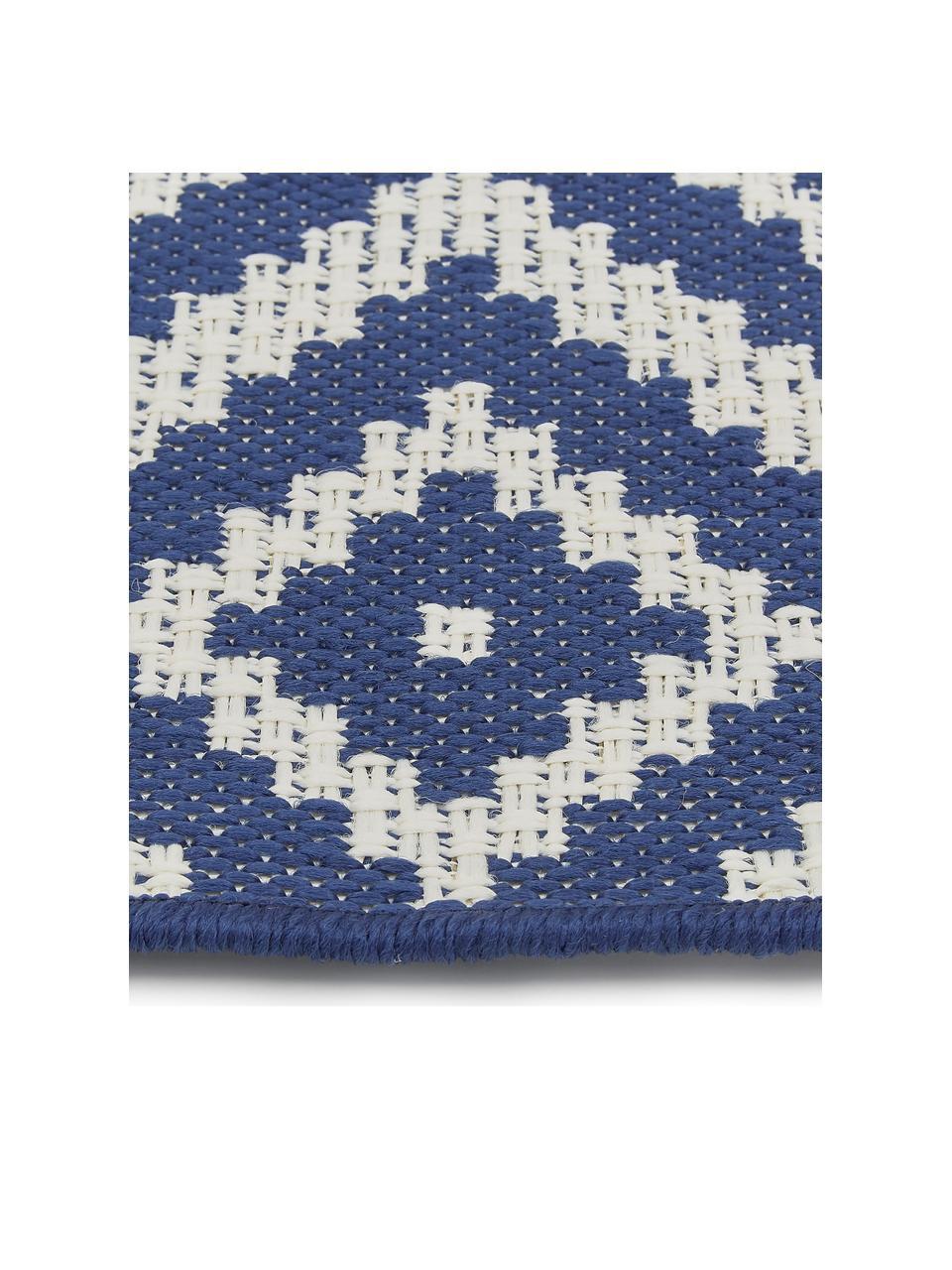 Gemusterter In- & Outdoor-Läufer Miami in Blau/Weiß, 86% Polypropylen, 14% Polyester, Cremeweiß, Blau, 80 x 250 cm
