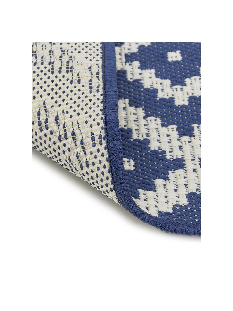 Passatoia blu/bianca a fantasia da interno-esterno Miami, 86% polipropilene, 14% poliestere, Bianco crema, blu, Larg. 80 x Lung. 250 cm