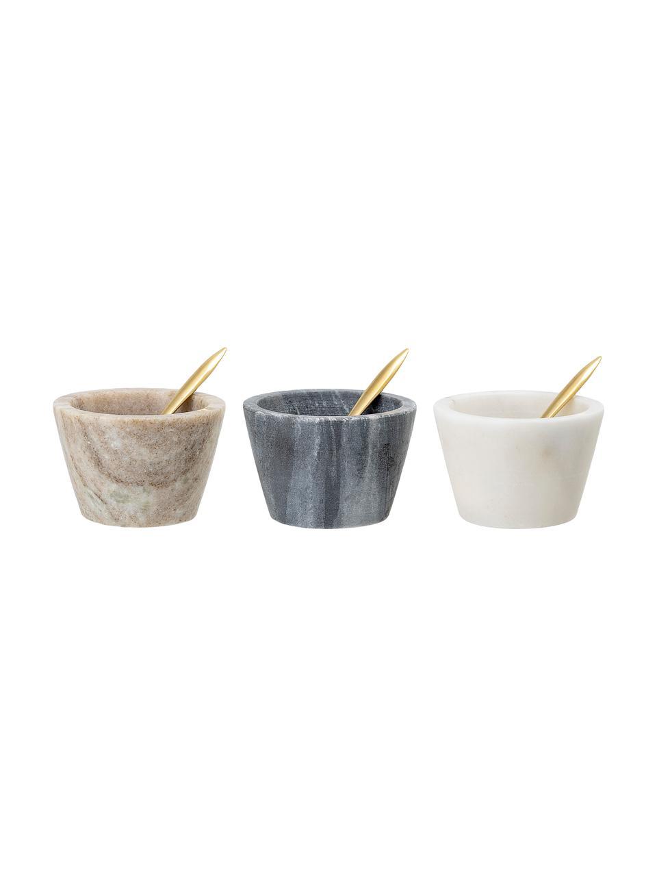 Komplet miseczek z marmuru z łyżeczkami Janina, 3 elem., Wielobarwny, Ø 8 x W 5 cm