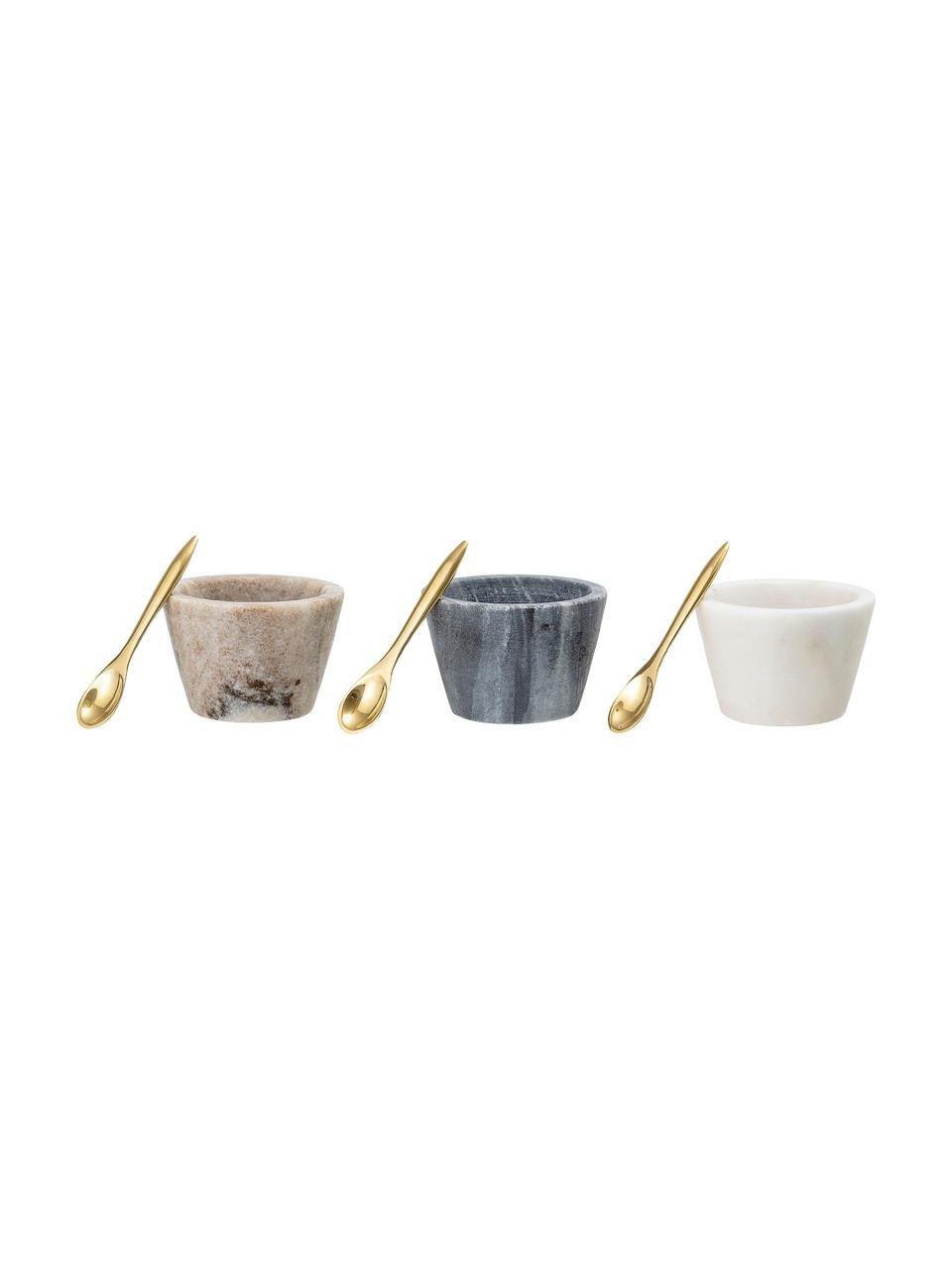 Set 3 ciotole in marmo con cucchiaini dorati Janina, Multicolore, Ø 8 x Alt. 5 cm