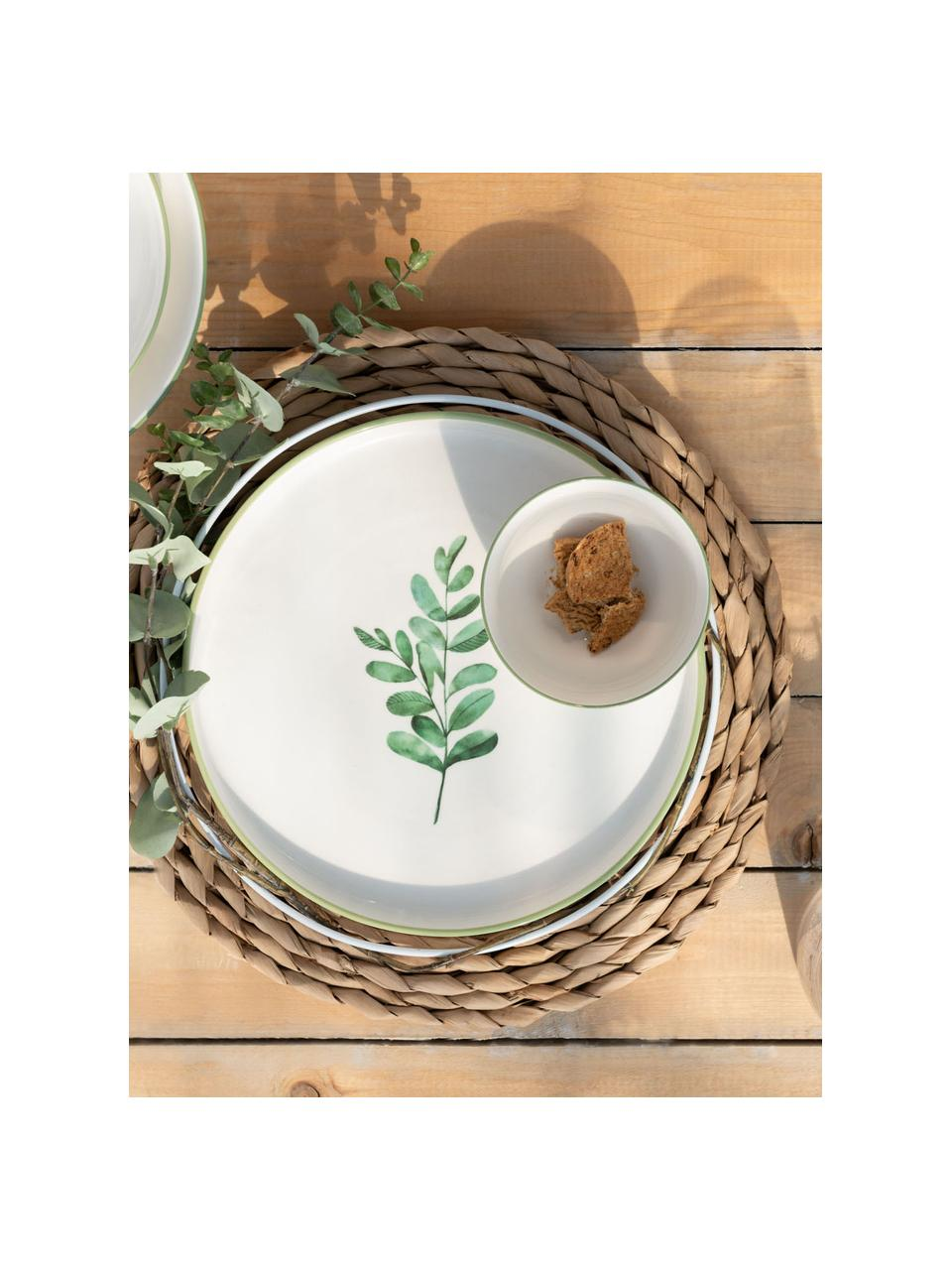 Ontbijtbord Eukalyptus, 4 stuks, Porselein, Wit, groen, Ø 24 cm