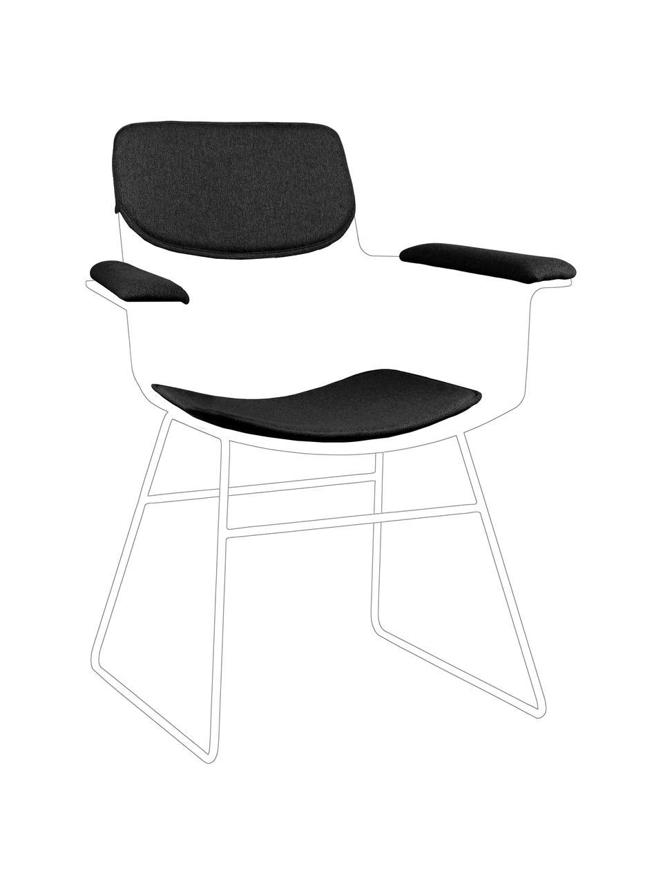 Sitzauflagen-Set für Metall-Armlehnstuhl Wire, 3-tlg., Bezug: 60% Baumwolle, 40% Polyes, Dunkelgrau, Set mit verschiedenen Größen