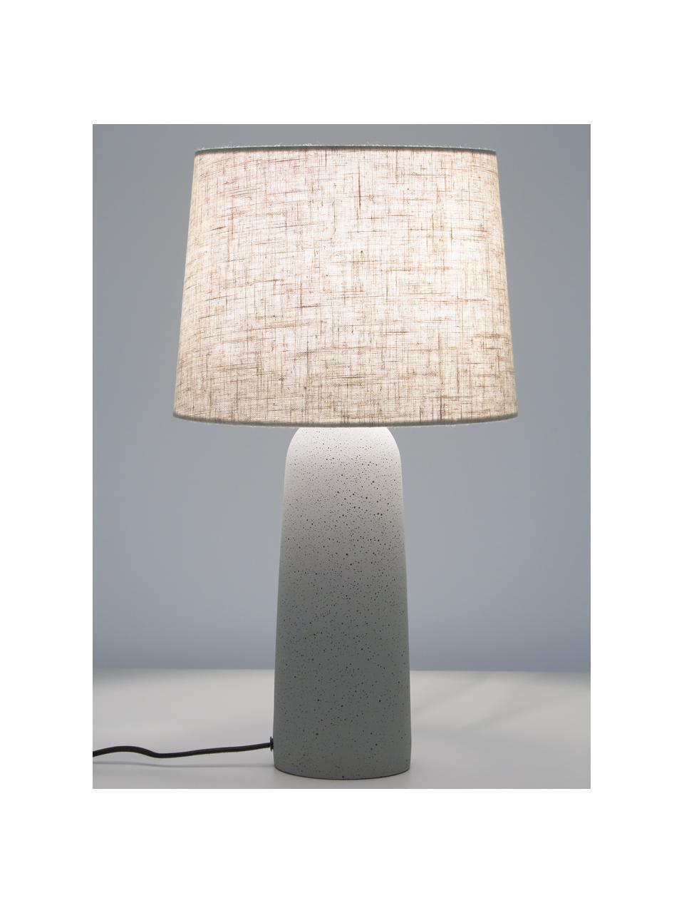 Große Tischlampe Kaya mit Betonfuß, Lampenschirm: 70% Baumwolle, 30% Leinen, Lampenfuß: Beton, Beige, Ø 29 x H 52 cm