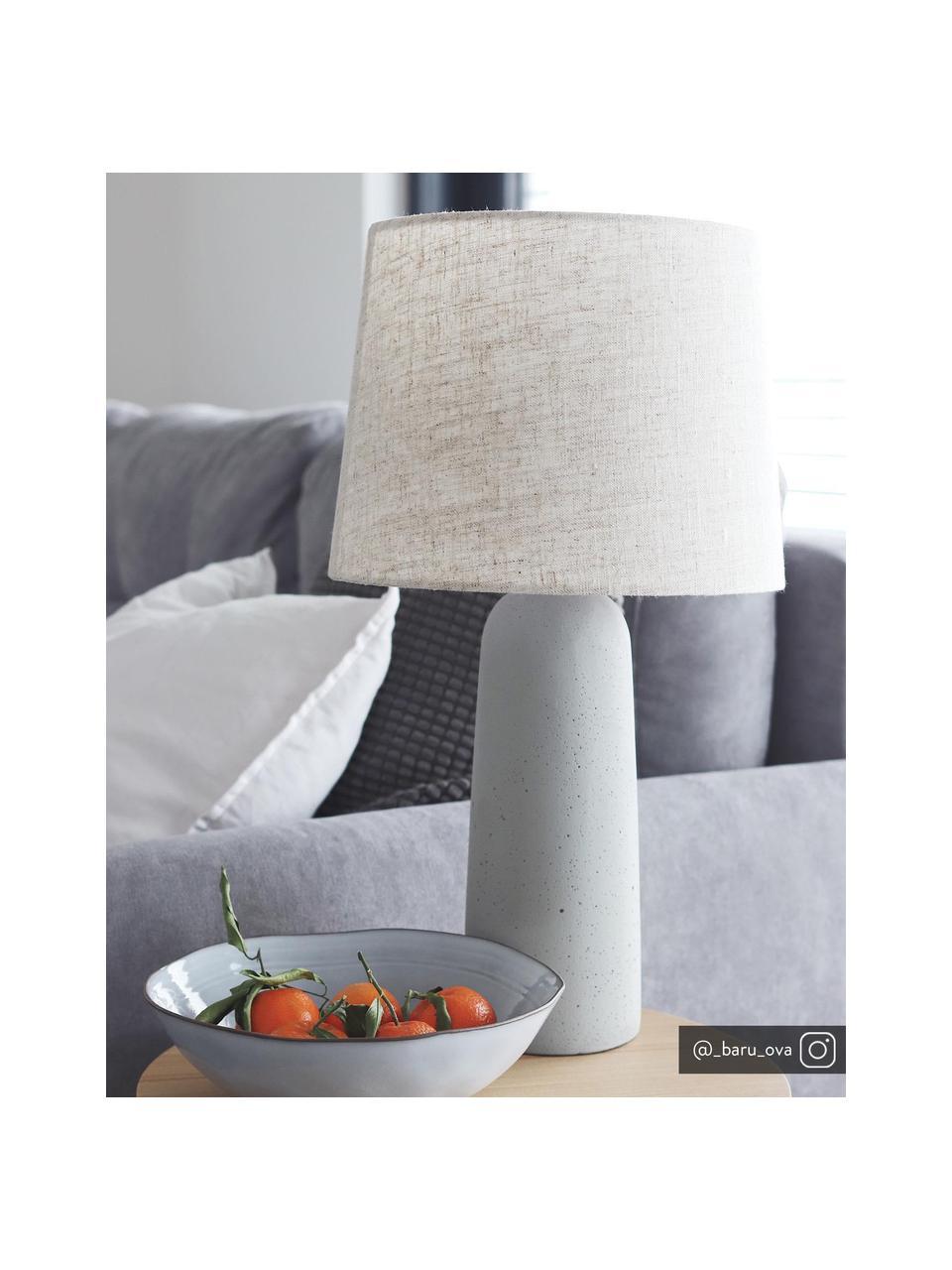 Lampada da tavolo con base in cemento Kaya, Paralume: 70% cotone, 30% lino, Base della lampada: cemento, Beige, Ø 29 x Alt. 52 cm