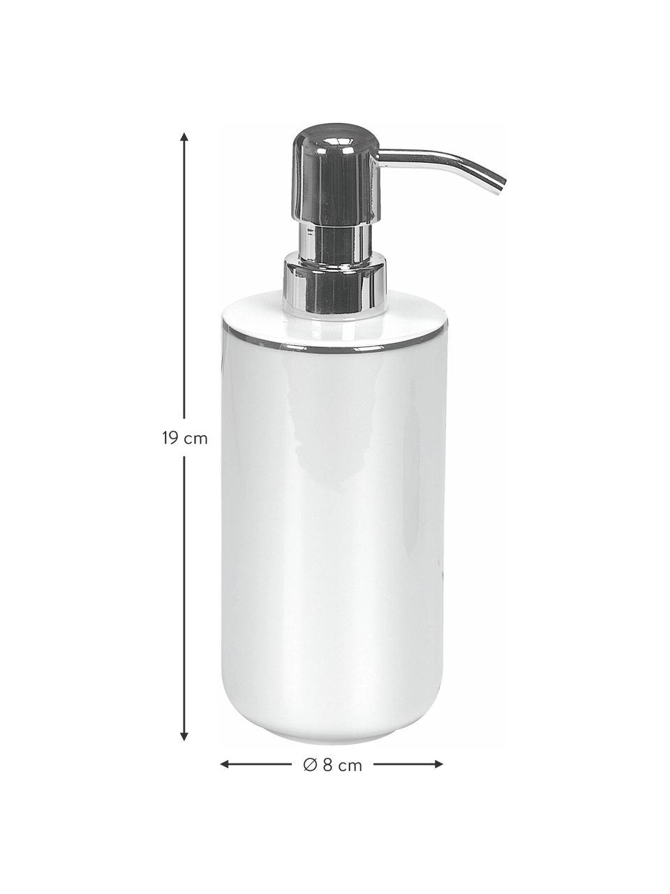 Seifenspender Noblesse aus Porzellan, Pumpkopf: Metall, Weiß, Ø 8 x H 19 cm