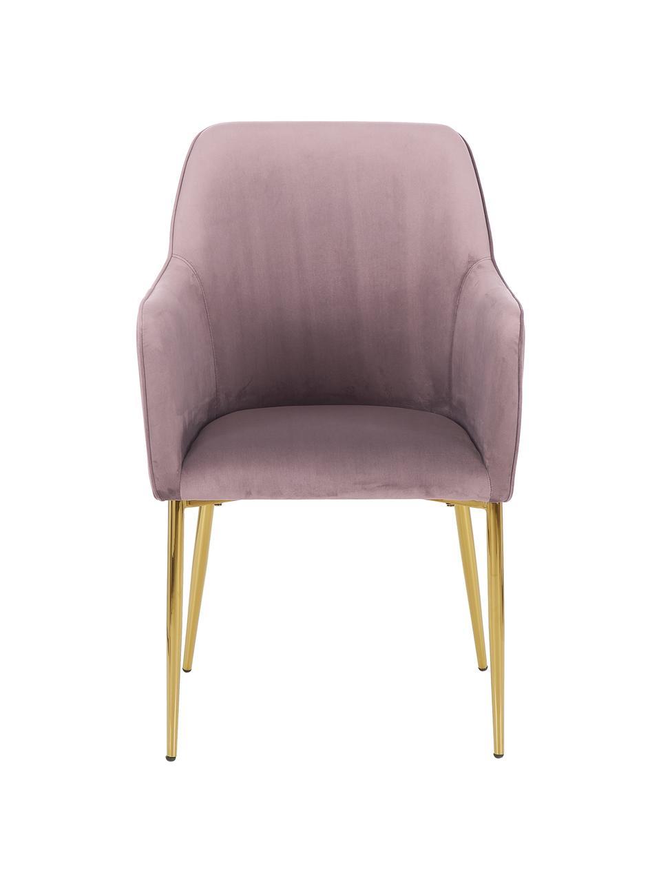 Samt-Armlehnstuhl Ava in Rosa, Bezug: Samt (100% Polyester) Der, Beine: Metall, galvanisiert, Samt Mauve, B 57 x T 63 cm