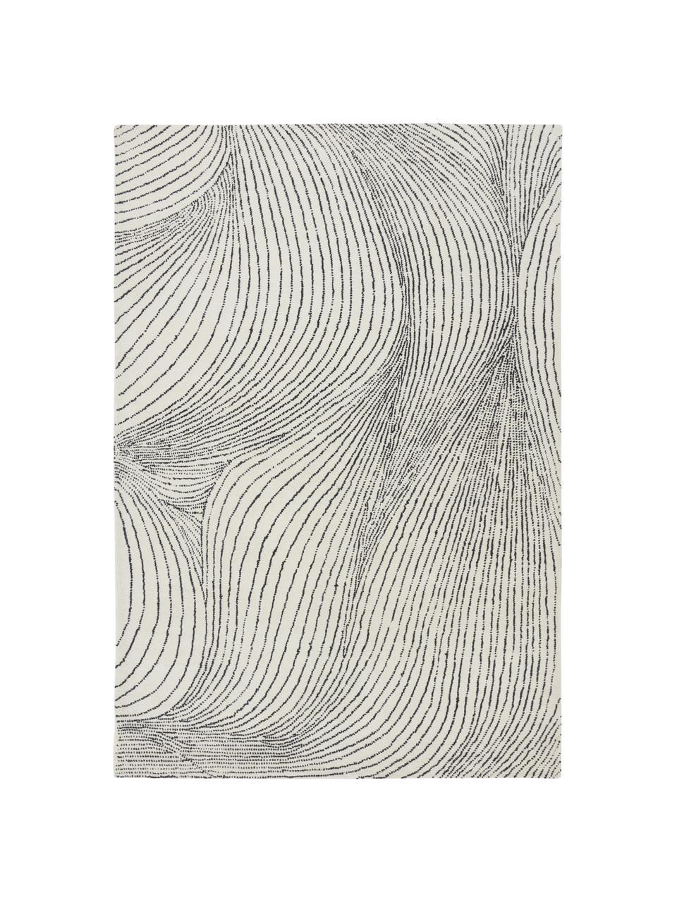 Großer handgewebter Wollteppich Waverly mit Wellenmuster, 100% Wolle  Bei Wollteppichen können sich in den ersten Wochen der Nutzung Fasern lösen, dies reduziert sich durch den täglichen Gebrauch und die Flusenbildung geht zurück., Weiß, Schwarz, B 160 x L 230 cm (Größe M)