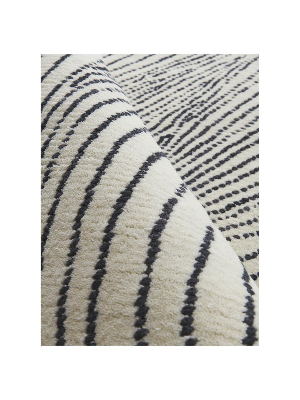 Handgeweven wollen vloerkleed Waverly met golfpatroon, 100% wol Bij wollen vloerkleden kunnen vezels loskomen in de eerste weken van gebruik, dit neemt af door dagelijks gebruik en pluizen wordt verminderd., Wit, zwart, B 160 x L 230 cm (maat M)