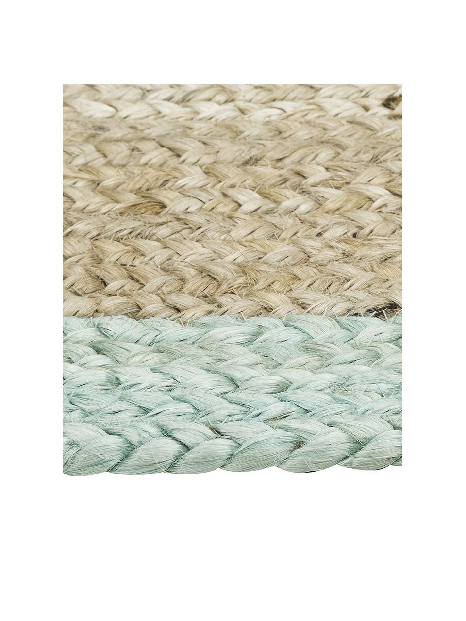 Handgemaakt juten vloerkleed Shanta met muntgroene rand, 100% jute, Jute, mintgroen, 160 x 230 cm