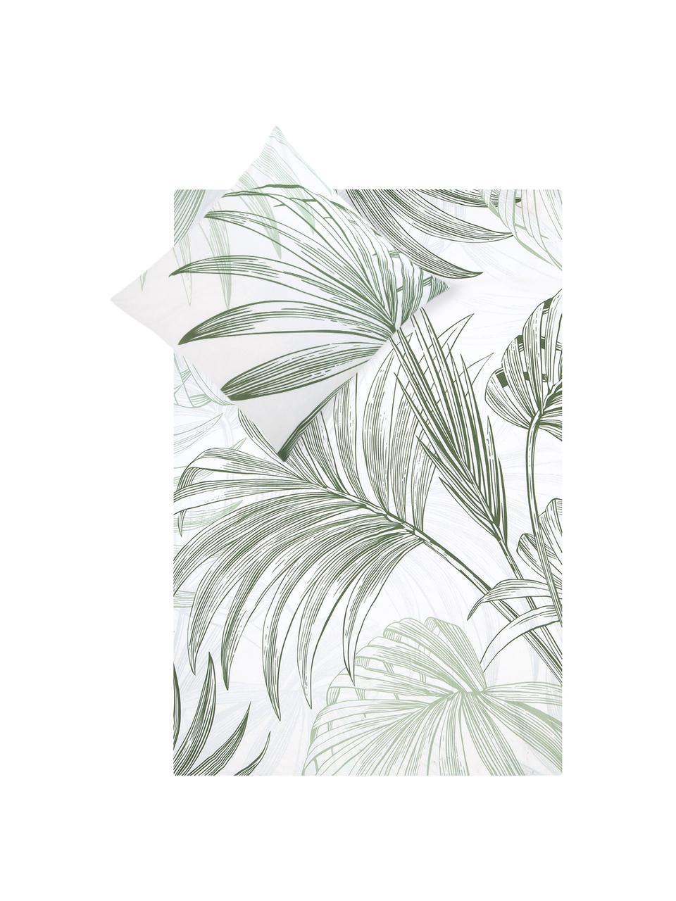 Baumwoll-Bettwäsche Alessa mit Blätterprint, Webart: Renforcé Fadendichte 144 , Weiß, Hellgrün, Dunkelgrün, 135 x 200 cm + 1 Kissen 80 x 80 cm