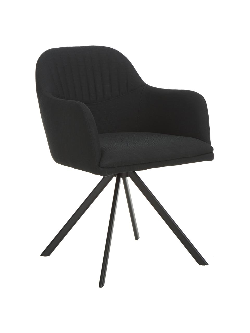 Obrotowe krzesło tapicerowane z podłokietnikami Lola, Tapicerka: poliester, Nogi: metal malowany proszkowo, Czarny, S 55 x G 52 cm