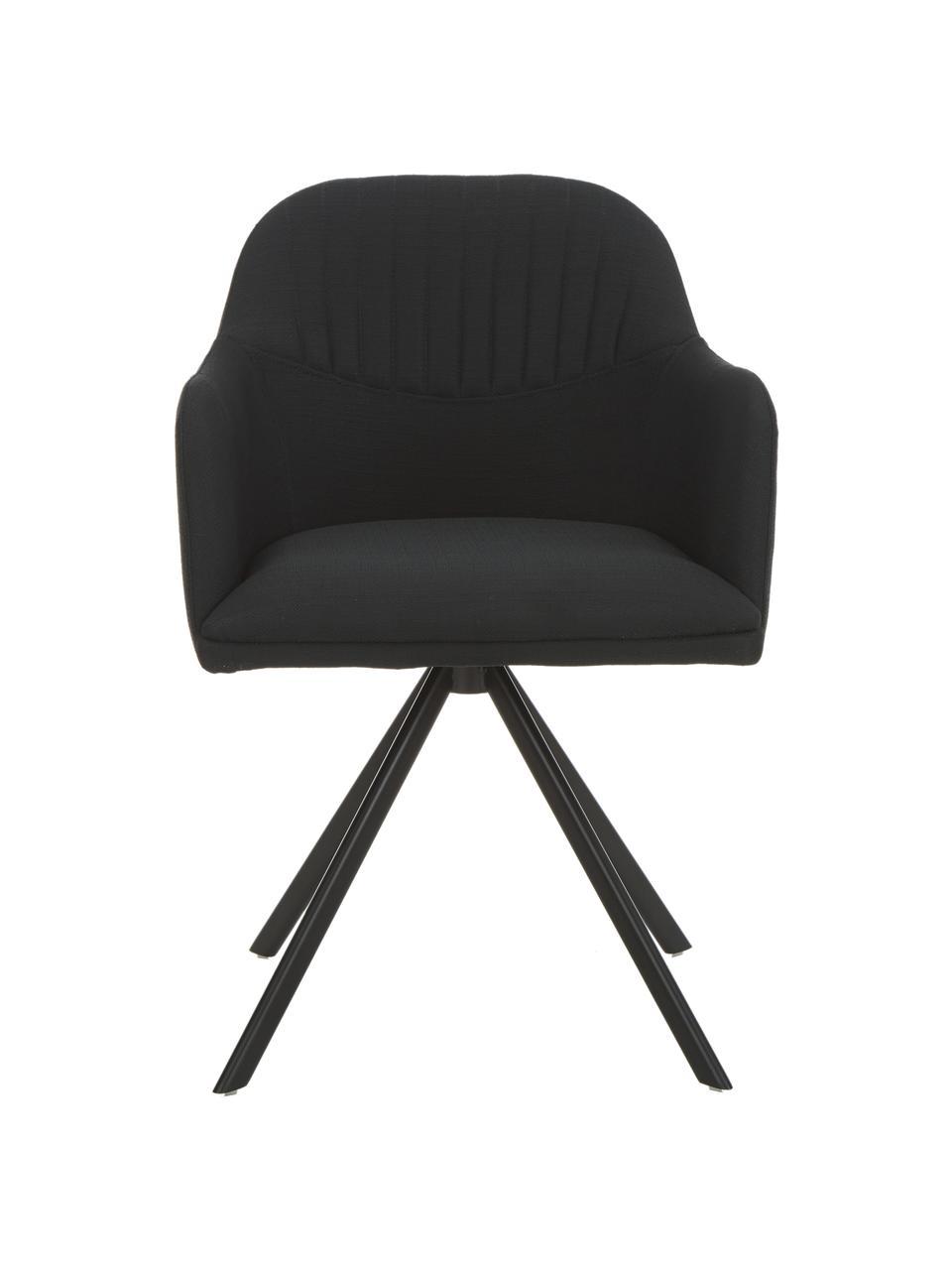Čalouněná otočná židle spodručkami Lola, Černá Nohy: černá