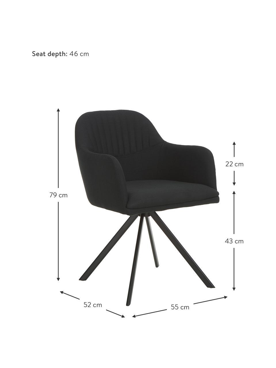 Chaise pivotante avec accoudoirs Lola, Tissu noir, pieds noir