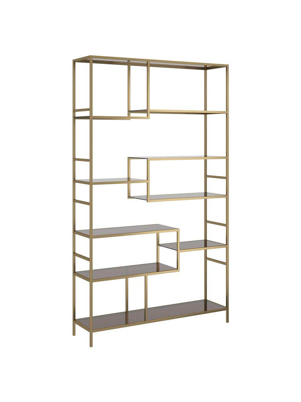 Regał z metalu Loft, Stelaż: metal malowany proszkowo, Odcienie mosiądzu, S 115 x W 195 cm