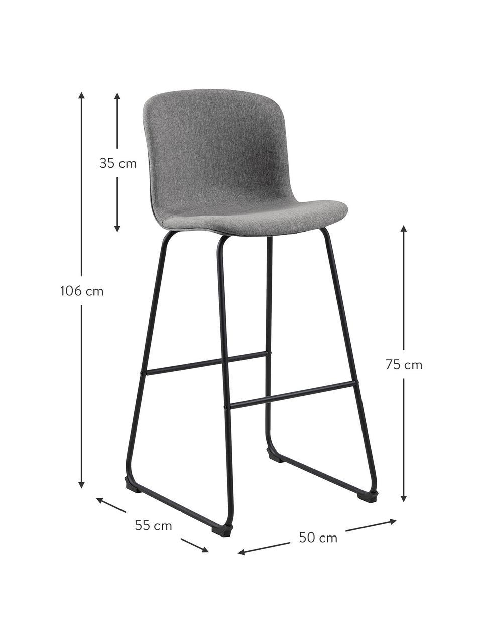 Barstühle Story in Grau, 2 Stück, Bezug: Polyester, Gestell: Metall, pulverbeschichtet, Grau, Schwarz, 50 x 106 cm