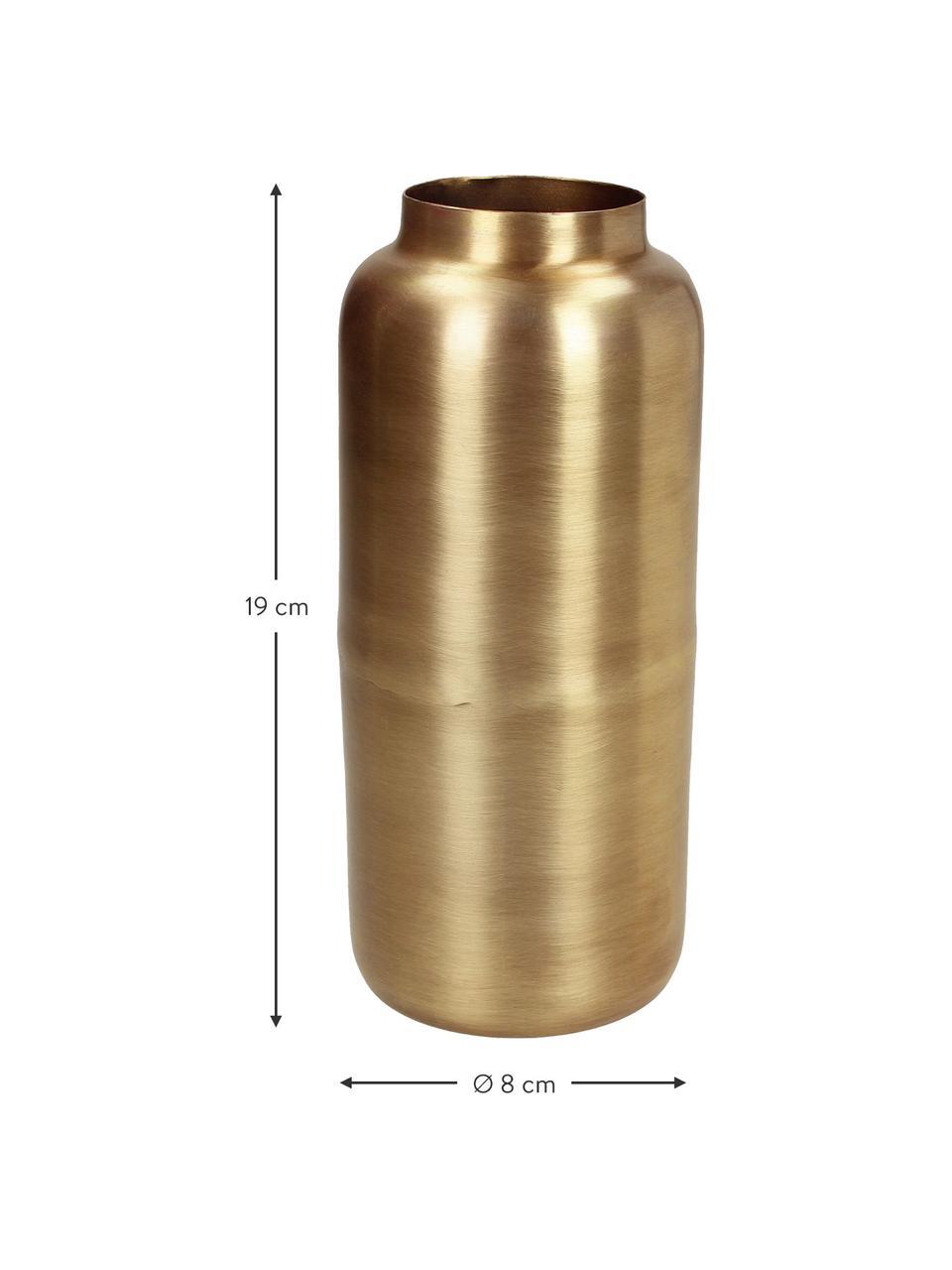 Decoratieve vaas Simply van metaal, Gecoat metaal en niet waterdicht, Messingkleurig, Ø 8 x H 19 cm