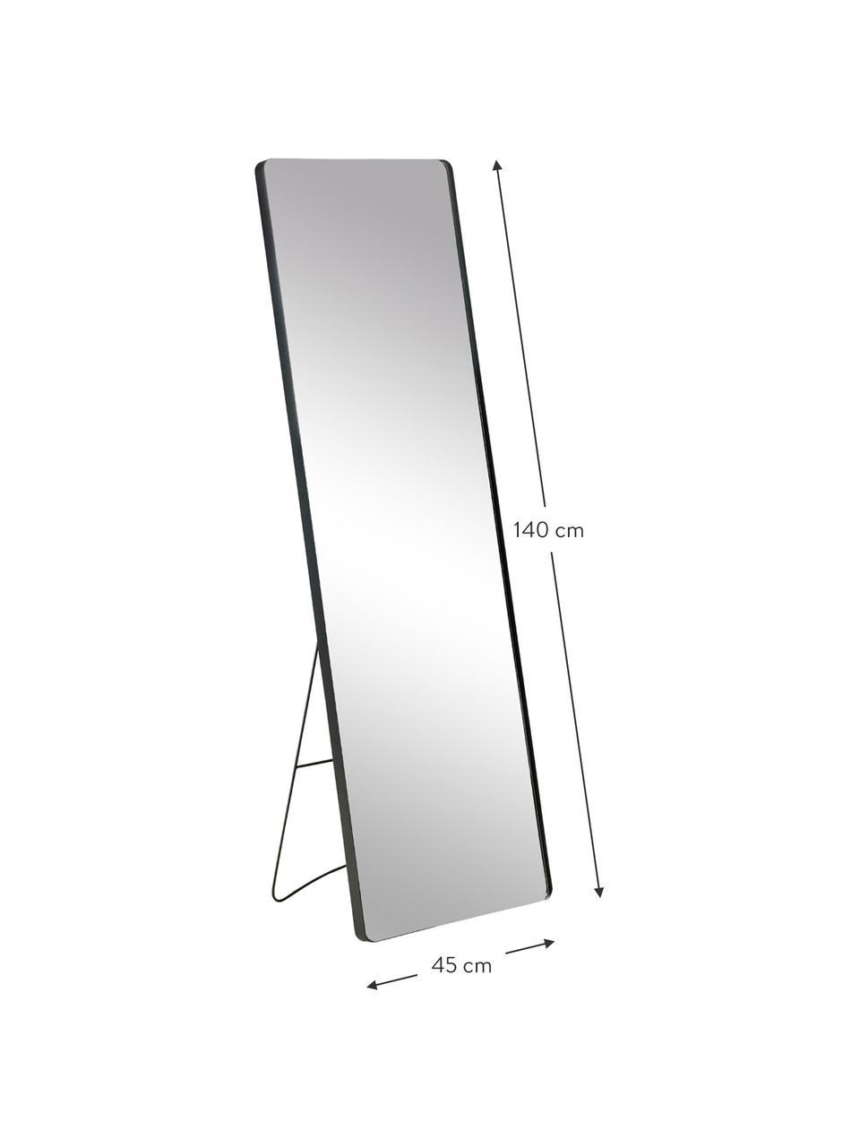 Specchio quadrato da terra con cornice in metallo nero Stefo, Cornice: metallo rivestito, Superficie dello specchio: lastra di vetro, Nero, Larg. 45 x Alt. 140 cm
